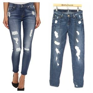 7 For All Mankind Slim Cigarette Distressed Jeans